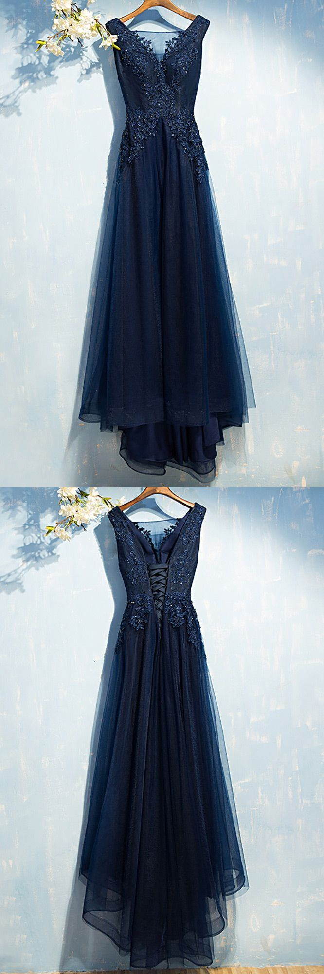 Gorgeous navy blue long prom dress cheap with sequin lace myx