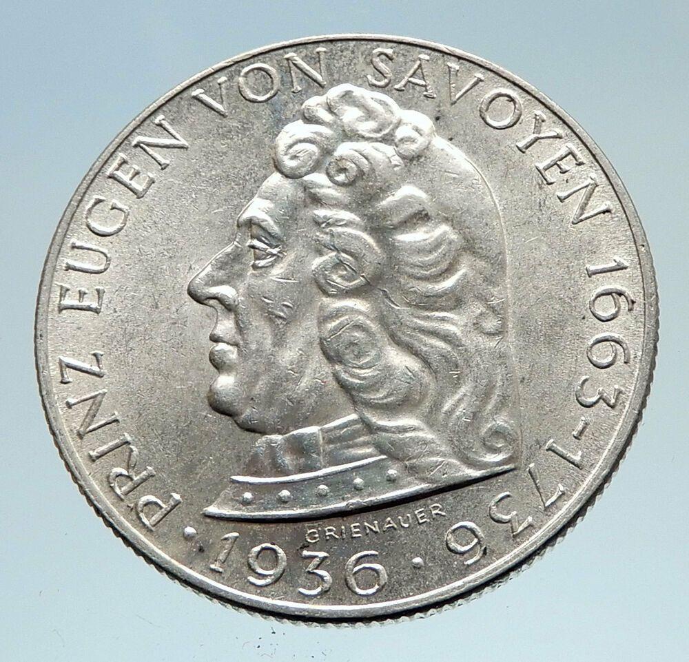 1936 Austria Silver 2 Schilling Prince Eugen Of Savoy Austria
