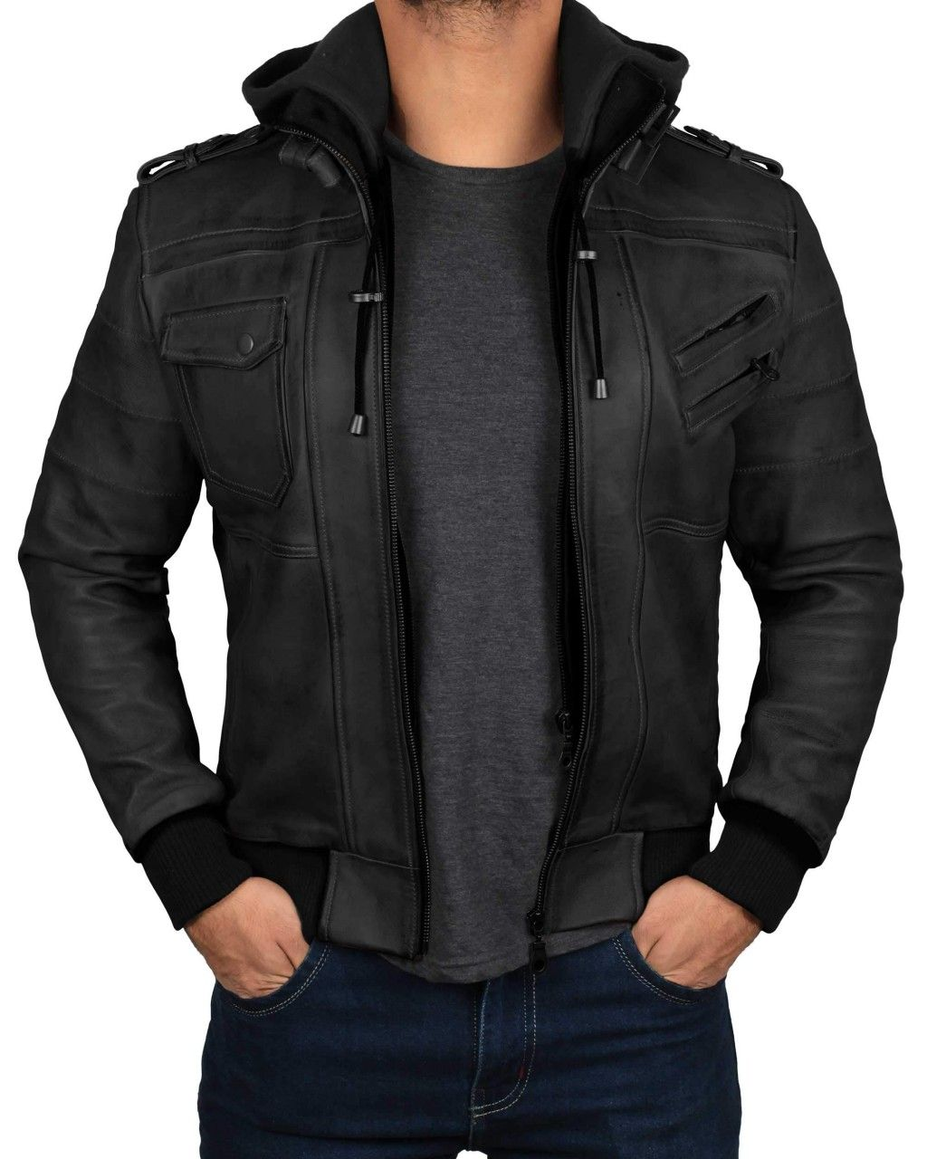 Edinburgh Black Hooded Leather Jacket Leather Jacket With Hood Leather Bomber Jacket Black Leather Jacket Men [ 1280 x 1024 Pixel ]