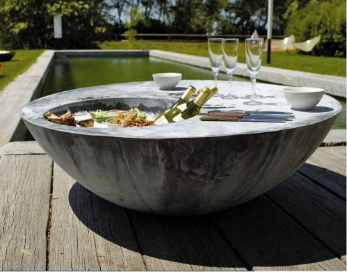 The Cool Table : Outdoor Table With Ice Bucket From DOMANI   Furniture  Fashion Most Awesome Outdoor Table Ever! Must Steal This Idea.
