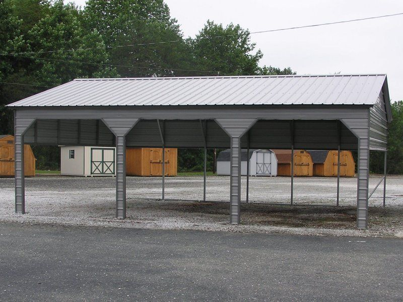 24x31 Vertical Roof Triple Car Carport Carport, Roofing