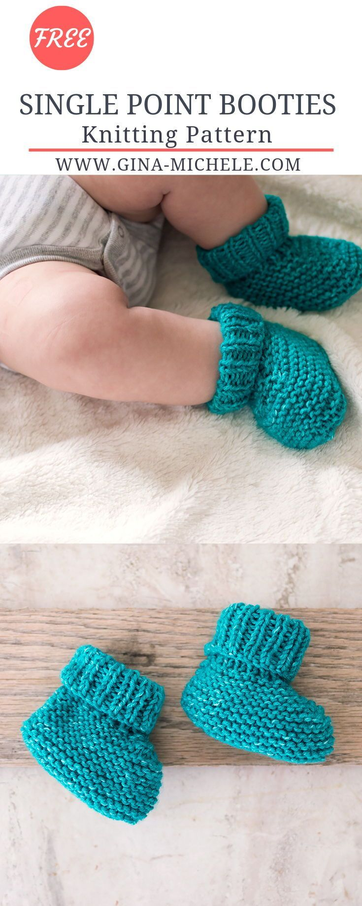 Photo of FREE knitting pattern for these Single Point Baby Booties. Great for beginners!