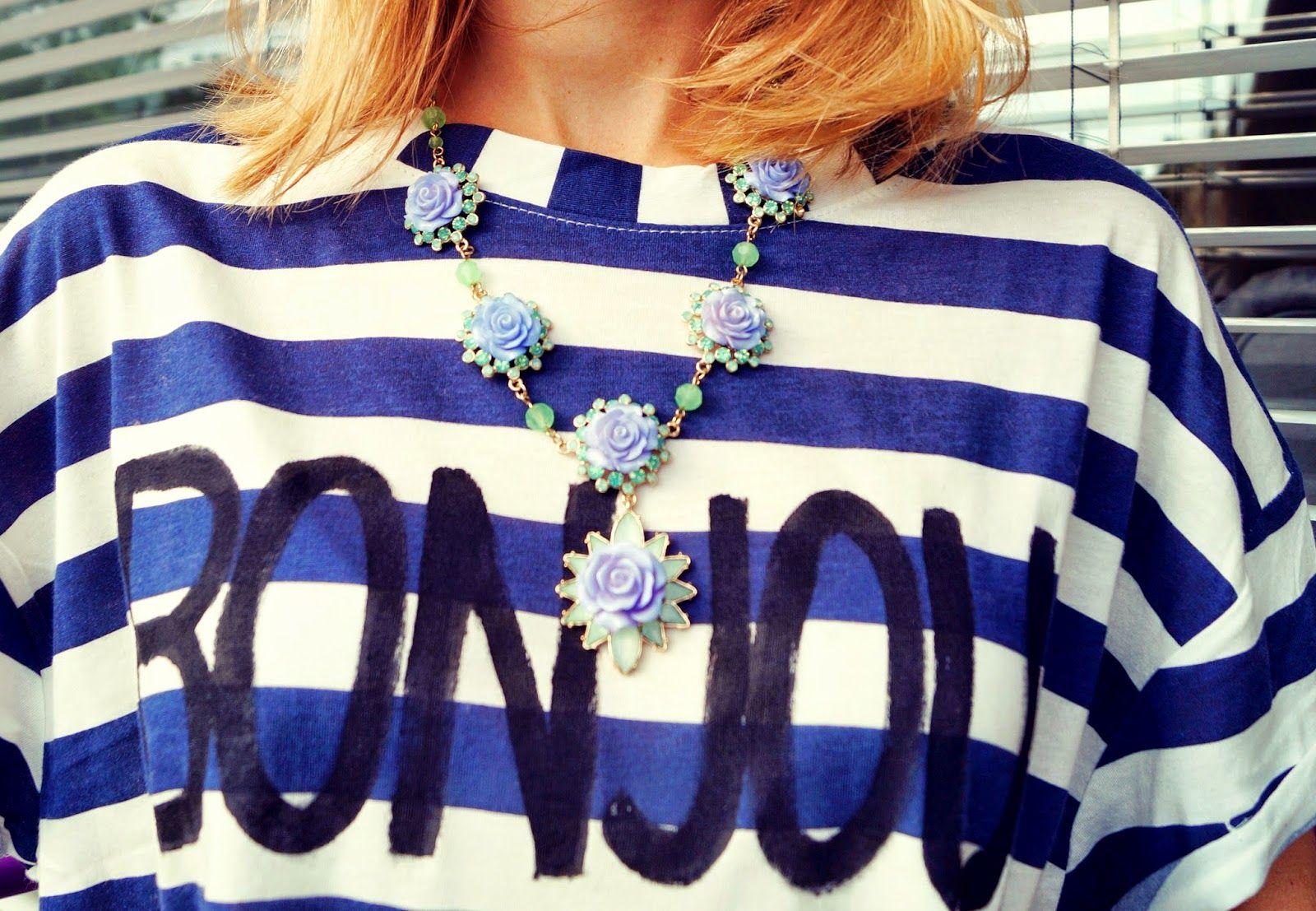 #diy #striped  #bonjour shirt   wildsau weissblau
