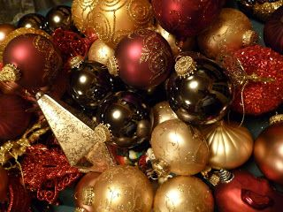 Red Gold Bronze Brown Christmas Decor What I M Doing This Year Red And Gold Christmas Tree Red Gold Christmas Office Christmas Decorations