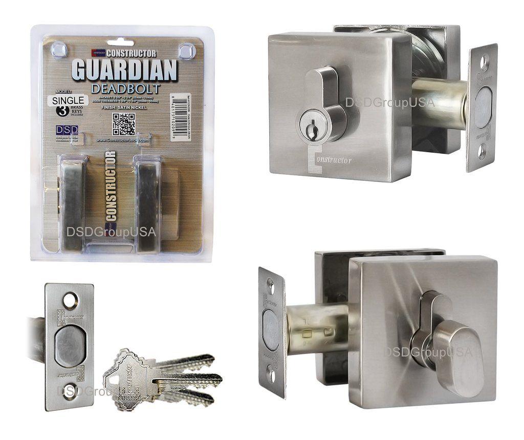 Constructor Guardian Entry Door Deadbolt Single Cylinder Lockset Satin Nickel Finish Deadbolt Lock Set Cylinder Lock