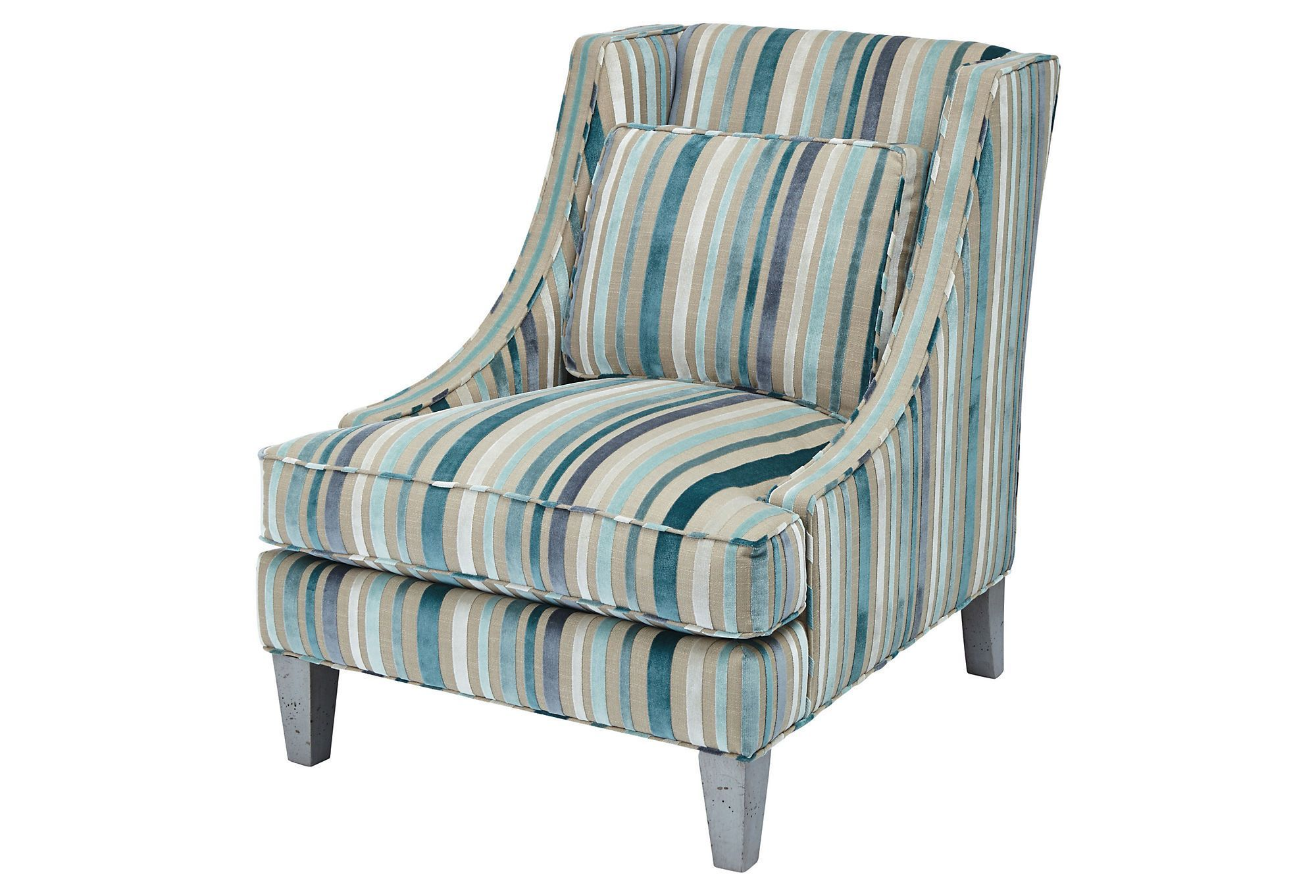 Best Joyce Textured Stripe Chair Gray Blue American Craftsmanship One Kings Lane With Images 400 x 300