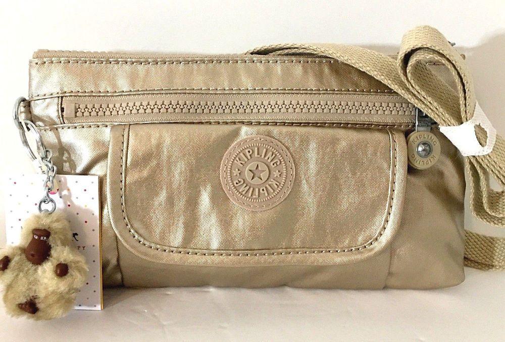 KIPLING Alwyn Crossbody Shoulder Clutch Bag Gold Nylon AC7910 Monkey Light  NEW  Kipling  Crossbody 7478e355c8268