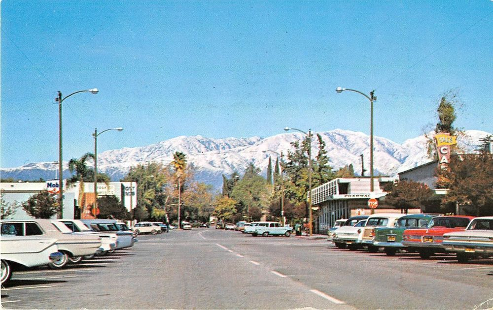 Claremont California Snow Capped Mountains From Yale Ave Vintage Postcard V14130 Claremont California California Postcard Claremont