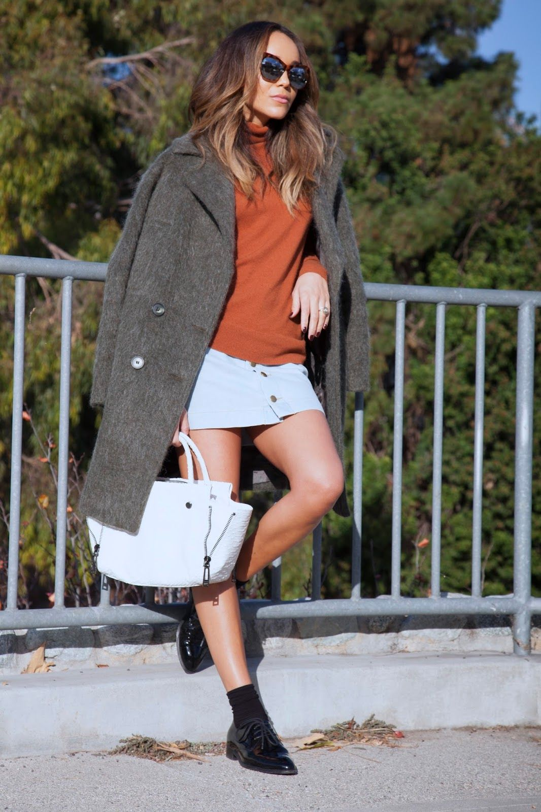 Sweater: ASOS. Skirt: American Apparel. Shoes: Celine. Coat: ASOS. Bag: Botkier. Sunglasses: Elizabeth & James.