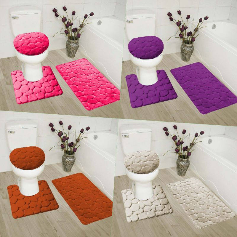 Bathmats Rugs And Toilet Covers 133696 3pc Set Soft Bathroom Bath