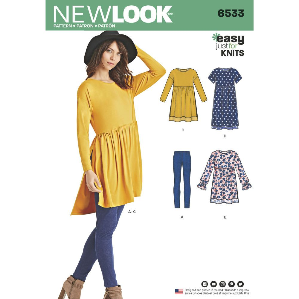 Misses\' babydoll dress or top features length and sleeve variations ...