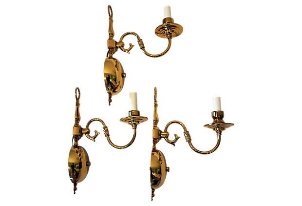 Brass Sconces, Set of 3 on OneKingsLane.com