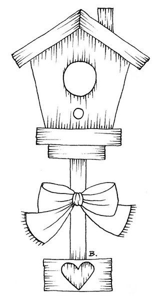 Free Coloring Pages Bird Houses. Birdhouse With Heart and Bow digi Beccy s Place  Digi Stamps