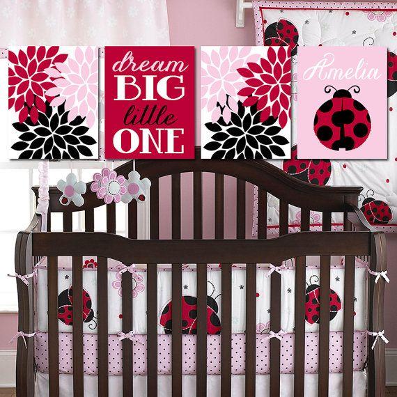 LADYBUG Wall Art, Lady Bug Theme, Baby Girl Nursery Wall Art, Girl ...