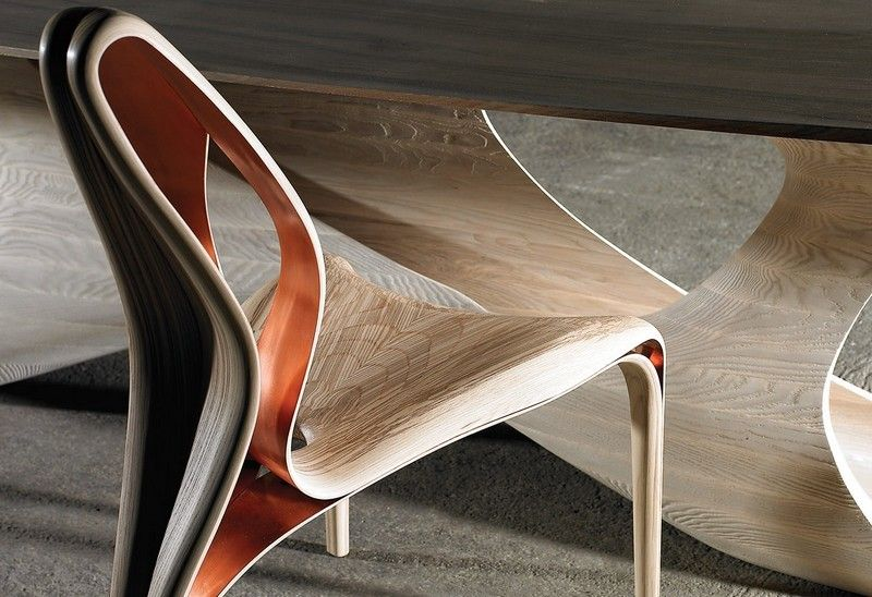 Schreibtisch aus Holz mit futuristischem Design Möbel Pinterest - designer hangesessel satala fuss