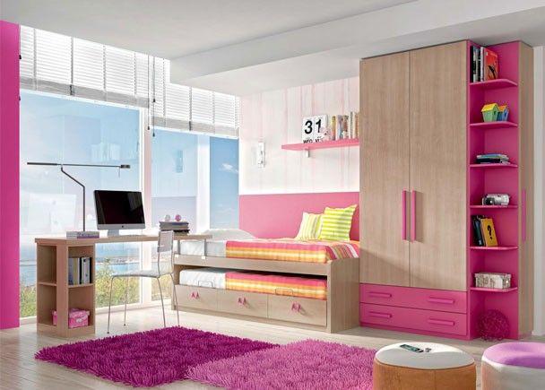 Dormitorio con compacto escritorio y armario mobiliario juvenil tonos rosas pinterest - Mobiliario habitacion bebe ...