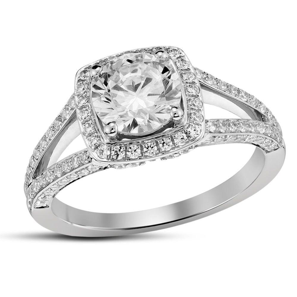 Womens Split Shank Halo Simulated Diamond Engagement Ring