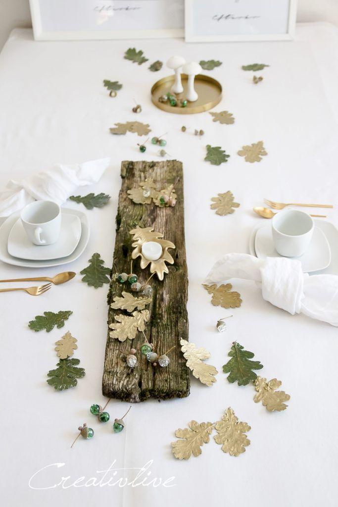 Herbstliche Tischdeko mit DIY Glasmurmel Eicheln - CreativLIVE