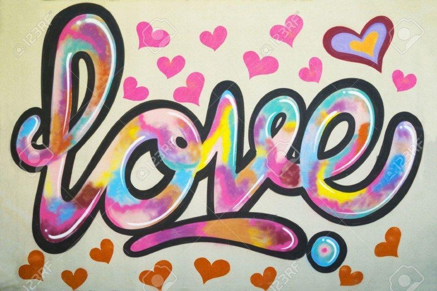 Contoh Foto Gambar Wallpaper Grafiti Tulisan I Love You Love Pelangi Graffiti Grafiti Graffiti Art