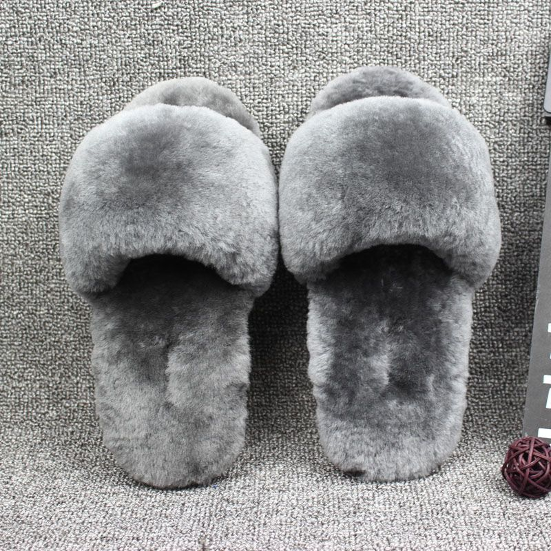 Natural Sheepskin home slippers Donna Fur Slippers Uomo Winter Indoor