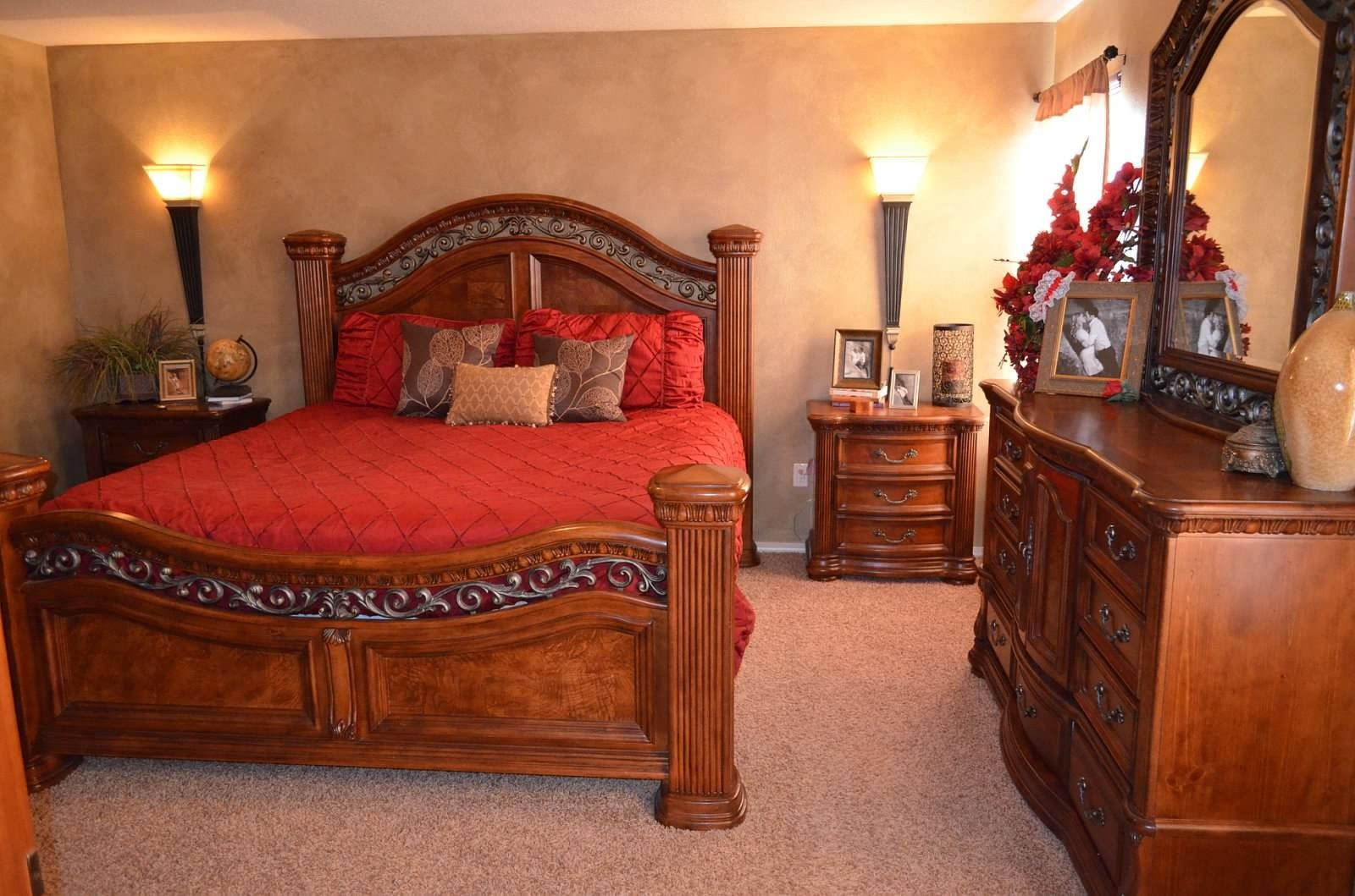 My master bedroom red comforter, faux painting, bed set