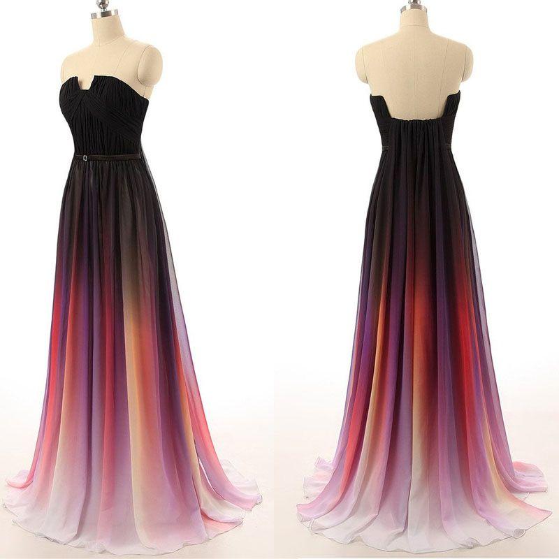 811cee7174 Hot sales navy blue ombre chiffon U neck long prom dress