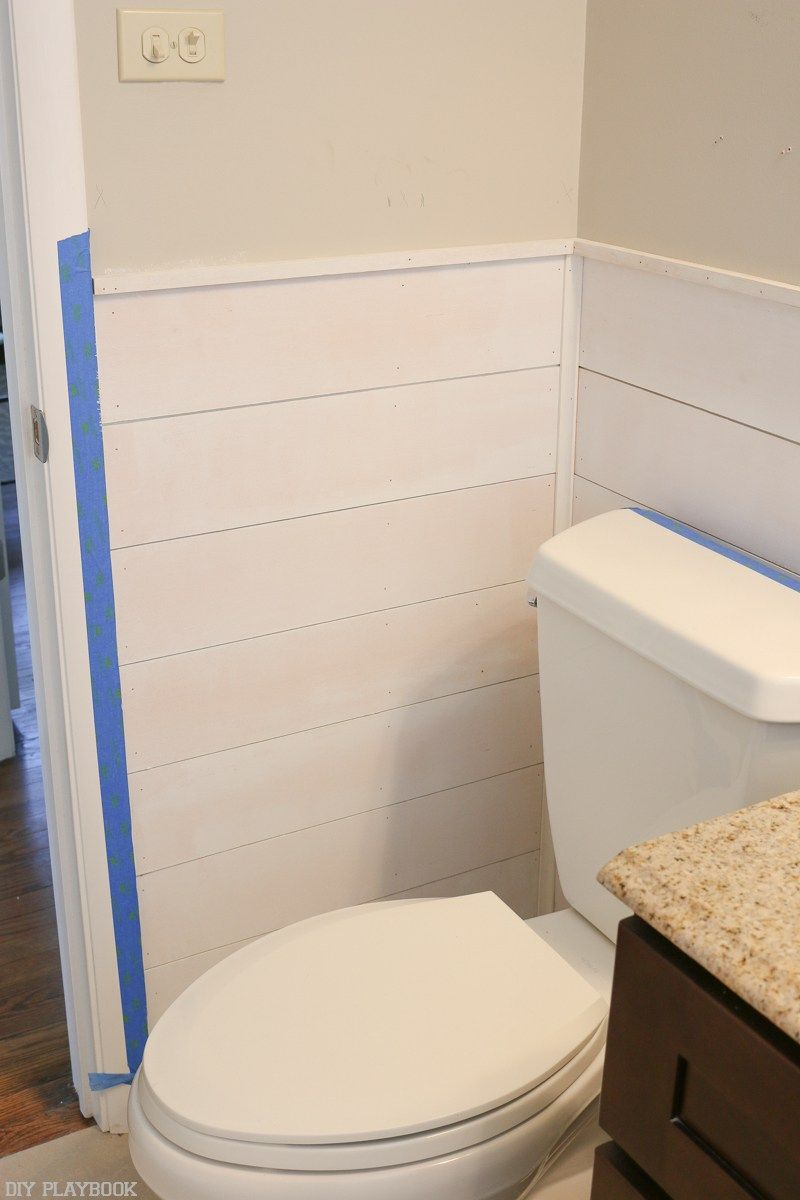How To Add Shiplap To Your Bathroom Space The Diy Playbook Shiplap Wall Diy Diy Shiplap Diy Bathroom
