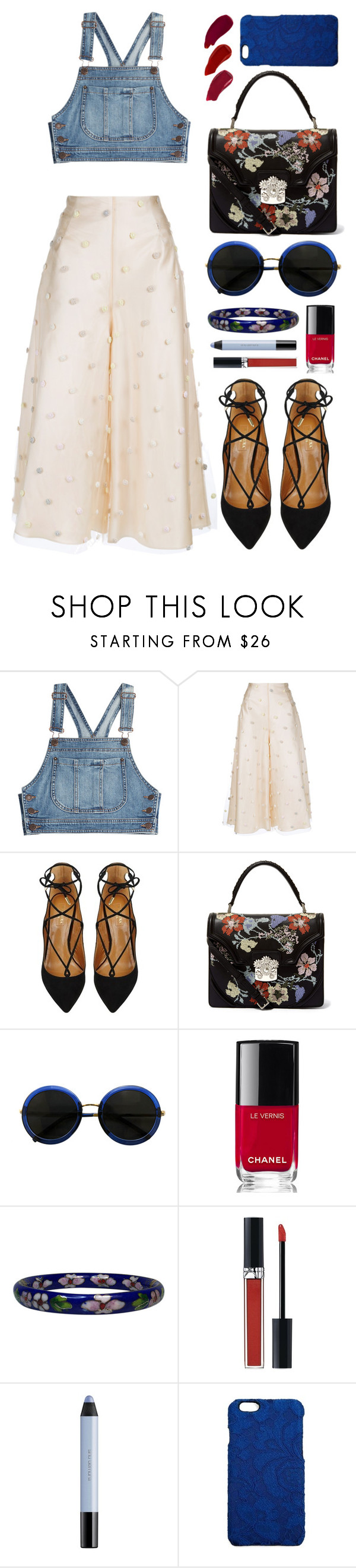 """""""Trending Topic Challenge: Cropped Denim Tops"""" by bechs ❤ liked on Polyvore featuring Moschino, Natasha Zinko, Aquazzura, Alexander McQueen, Chanel, Christian Dior, shu uemura, Dolce&Gabbana and Ellis Faas"""