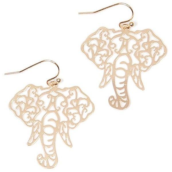 Filigree Elephant Head Earrings ($6.99) ❤ liked on Polyvore featuring jewelry, earrings, filigree earrings, elephant jewelry, elephant earrings, cut out jewelry and earrings jewelry