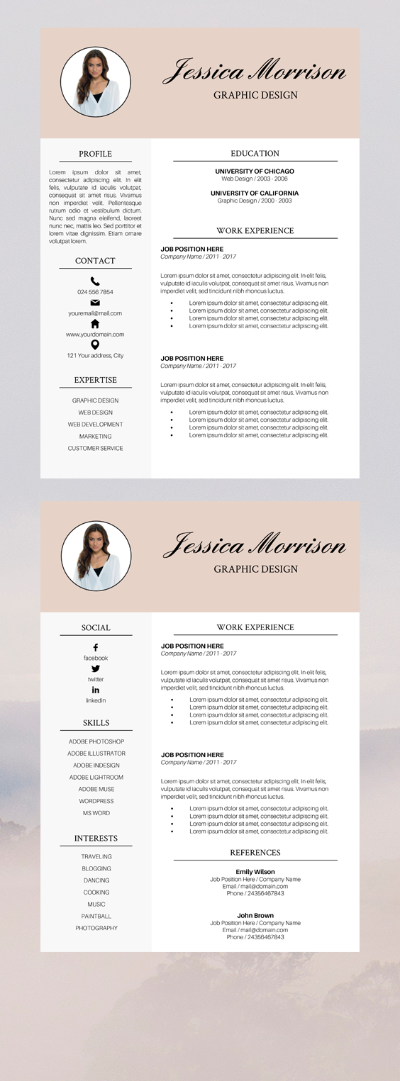 Photo Resume Template Resume Instant Download Cv Template