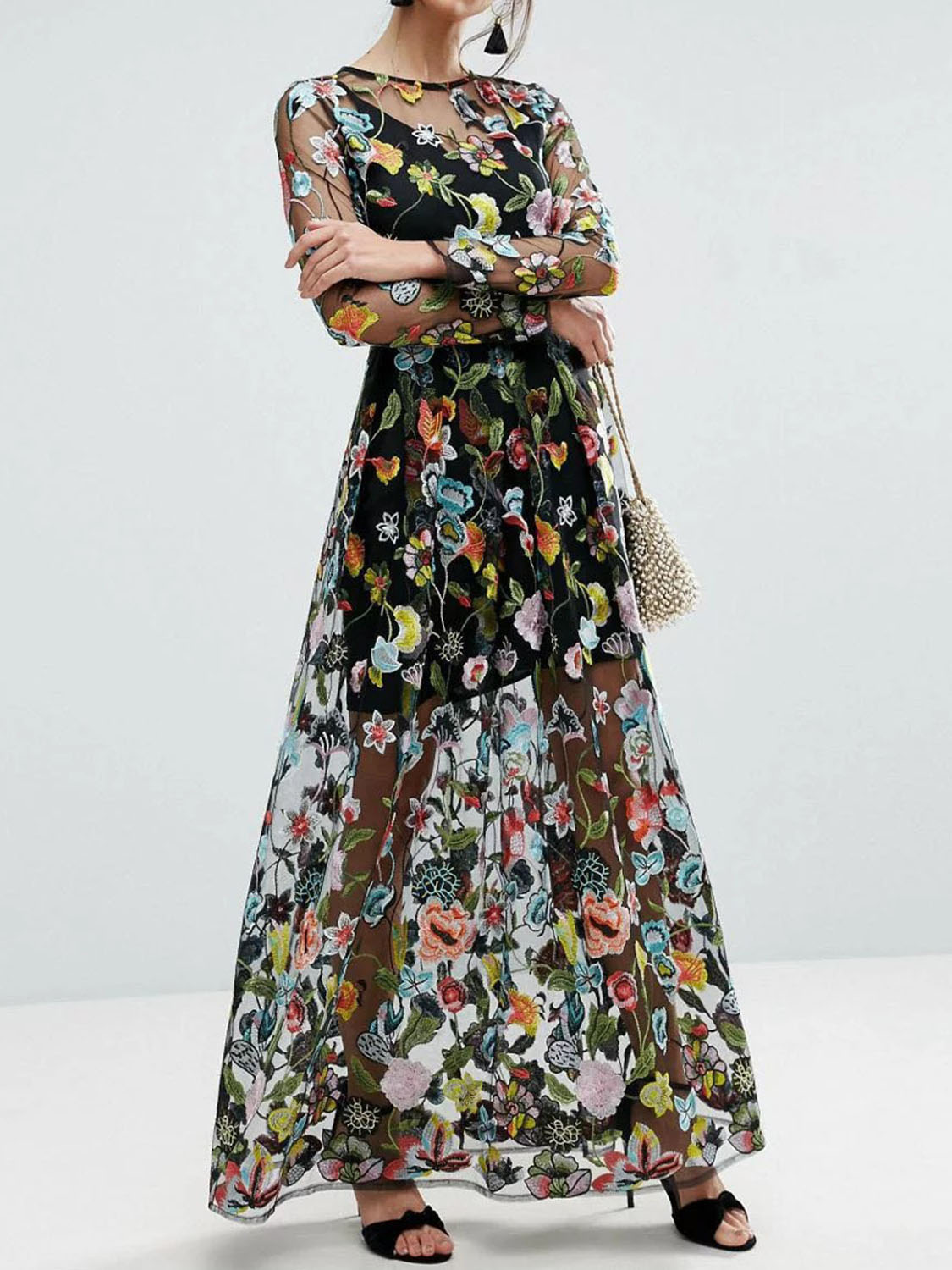 3a84a8e0bd805 Buy Black Embroidery Floral Long Sleeve Sheer Mesh Maxi Dress from ...