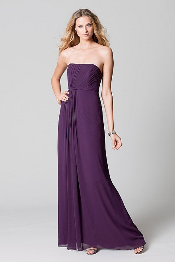 Watters WTOO 383 Plum crinkle chiffon strapless asymmetrical draped ...