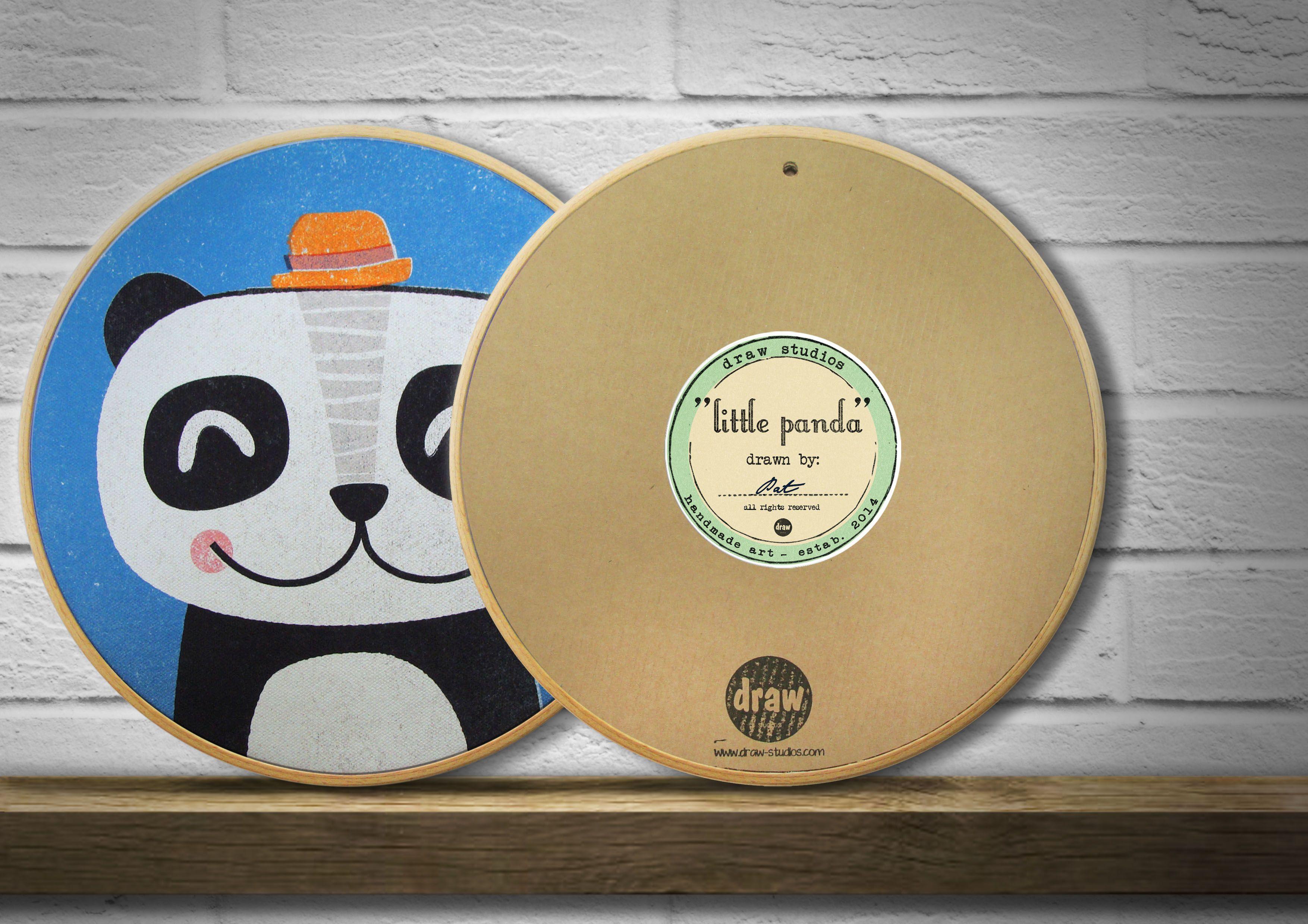 """little panda"", printed on heavy cotton canvas, wooden frame, handmade, polar bear, kids ,art, illustration,Kinderzimmer, kids"
