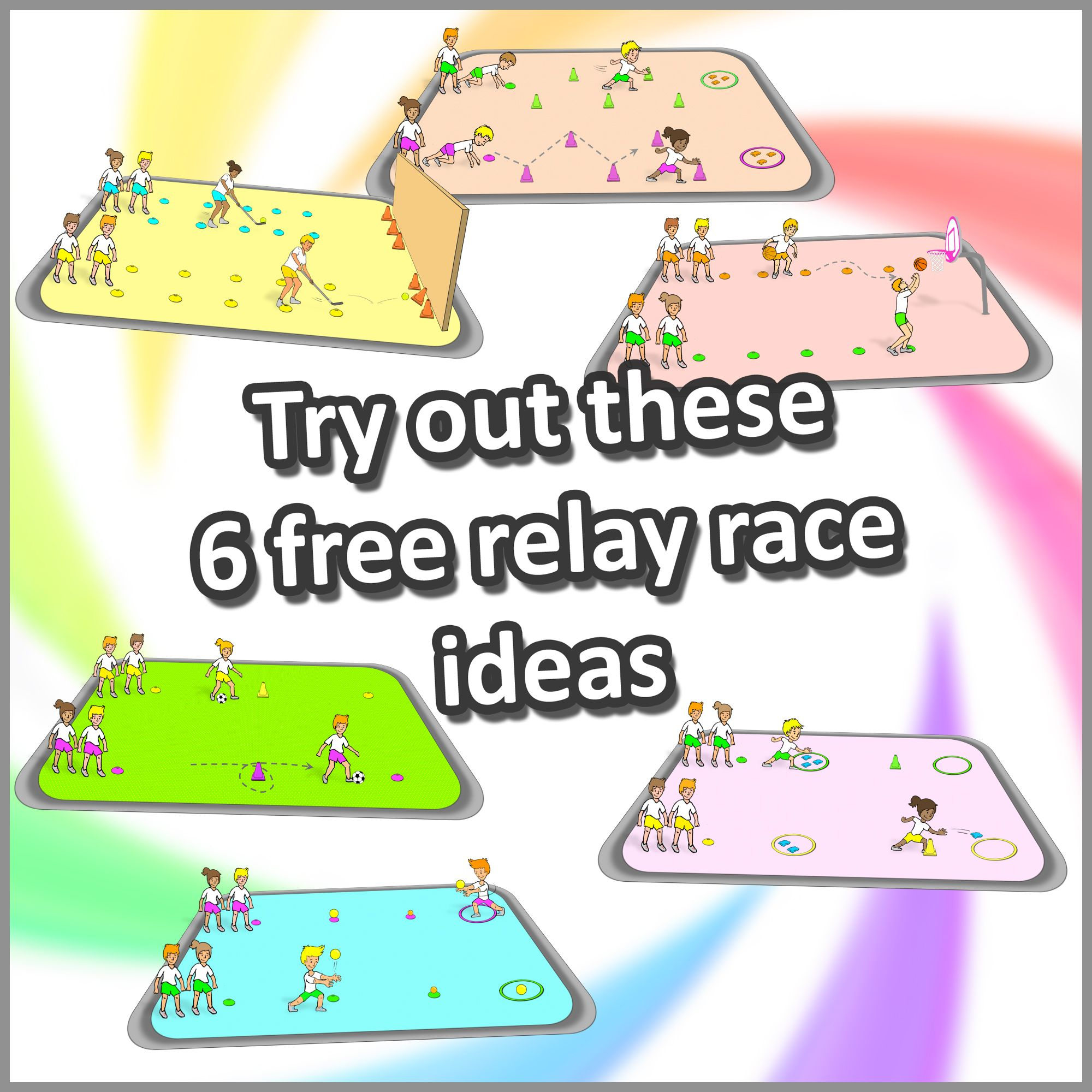 6 Relay Race Ideas Try These Out For Your Next Pe Lesson And Get Your Kids Excited About Sport Gym Games For Kids Gym Games Pe Lessons