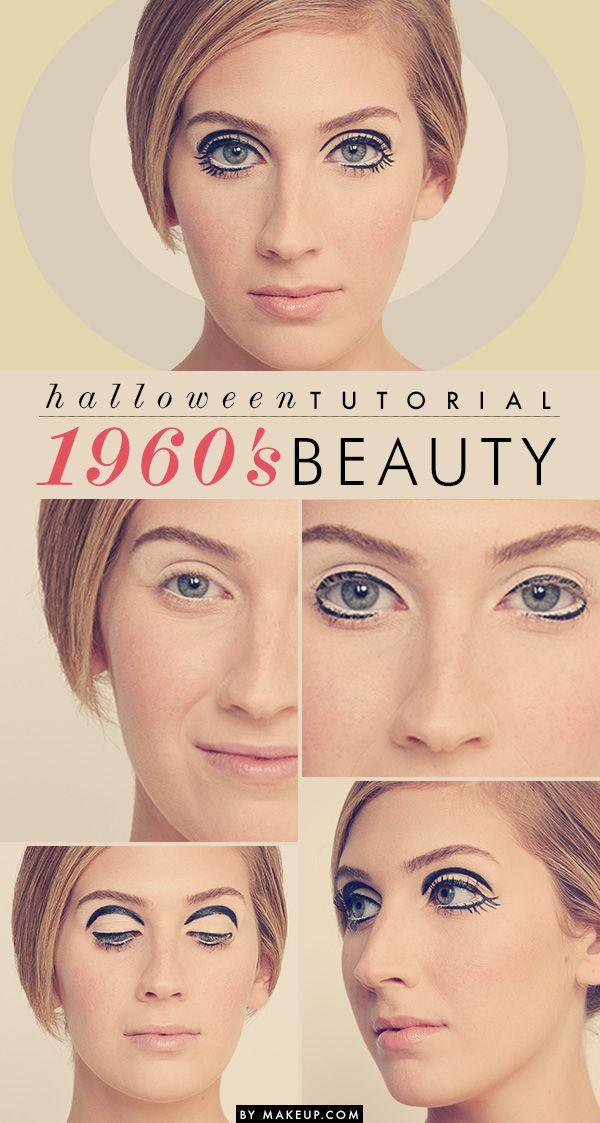 halloween tutorial 1960s beauty mod makeup twiggy and