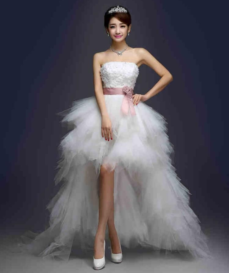 Womens Girls Bra Lace Long Back Short Front Wedding Bridal Dress Slim Party Gown