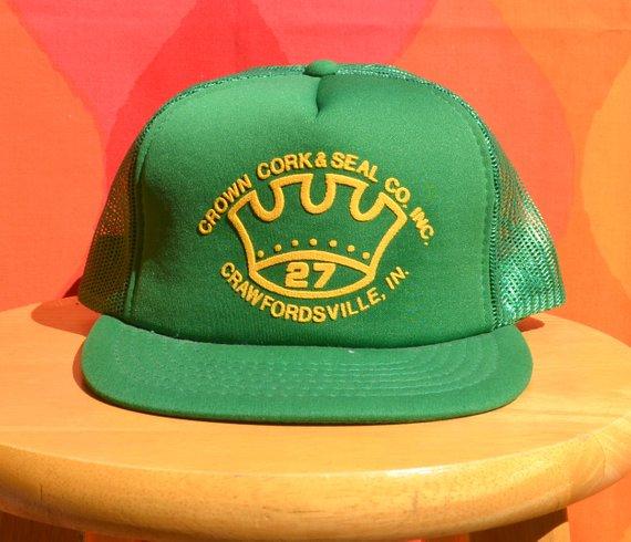 f7999424a44053 80s vintage foam mesh trucker hat CROWN CORK & seal beer snapback green baseball  cap rockstar