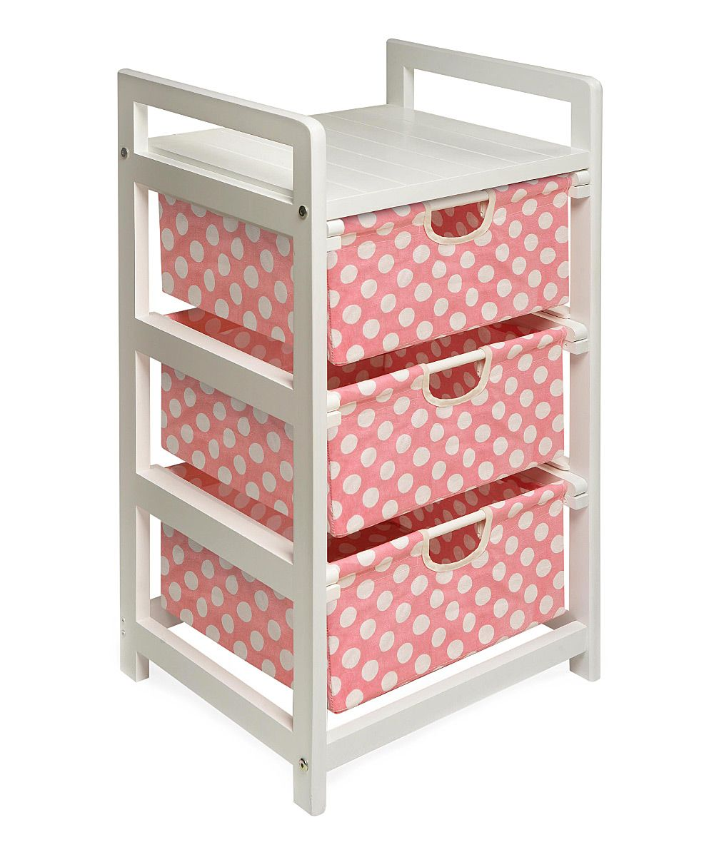 Pink Polka Dot Three-Drawer Storage Unit | ropa para bebes ...