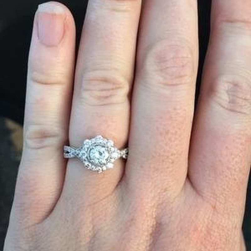 Truly Zac Posen 1 1 4 Ct Tw Diamond Halo Engagement Ring In 14k White Gold Halo Engagement Halo Diamond Engagement Rings