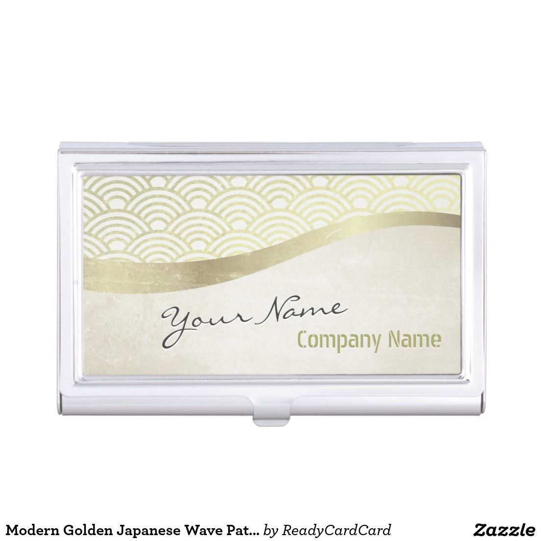 Modern Golden Japanese Wave Pattern Makeup Artist Business Card ...