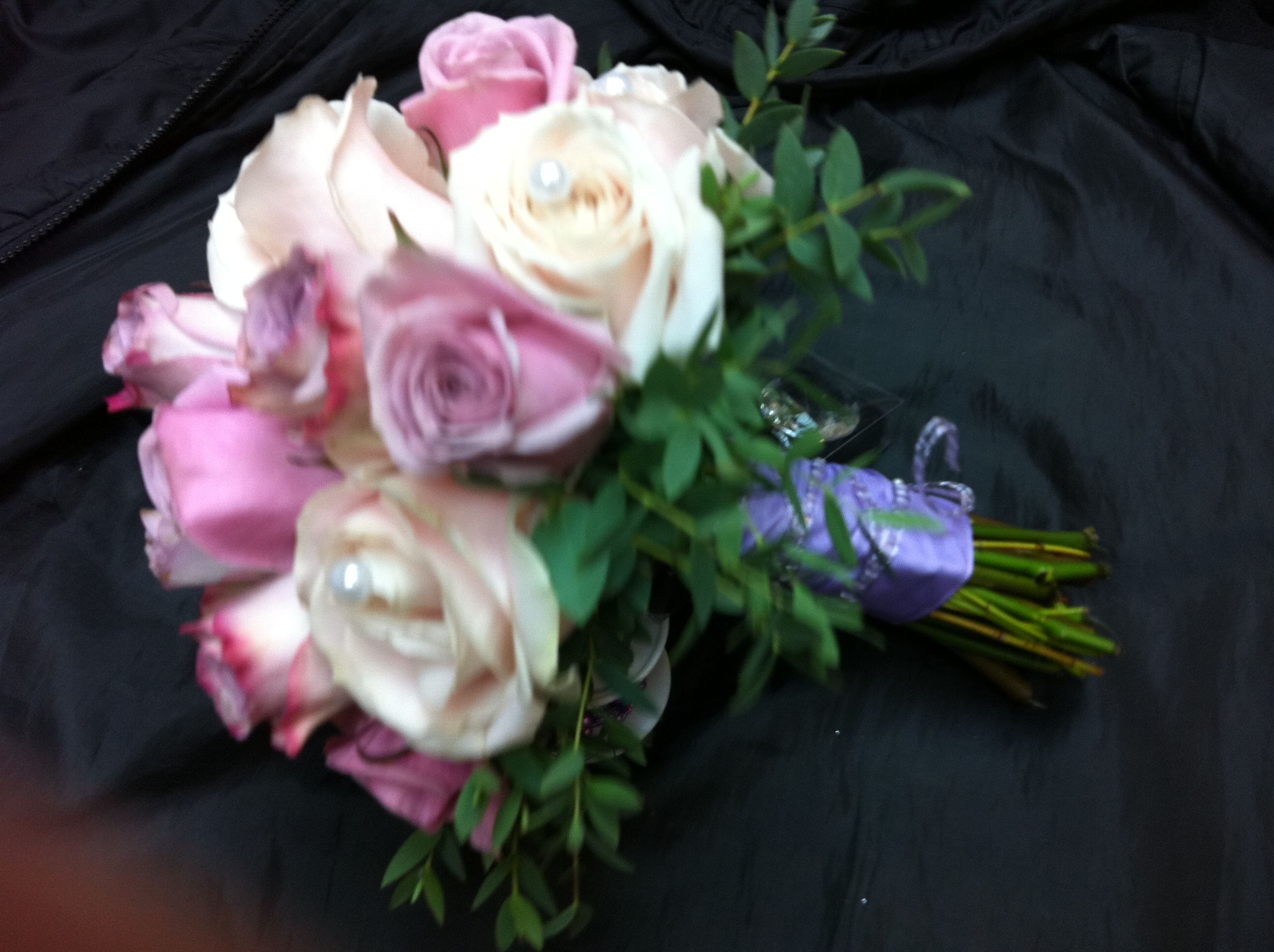 Pink Lilac Rose Bouquet With Foliage Collar Pink Wedding