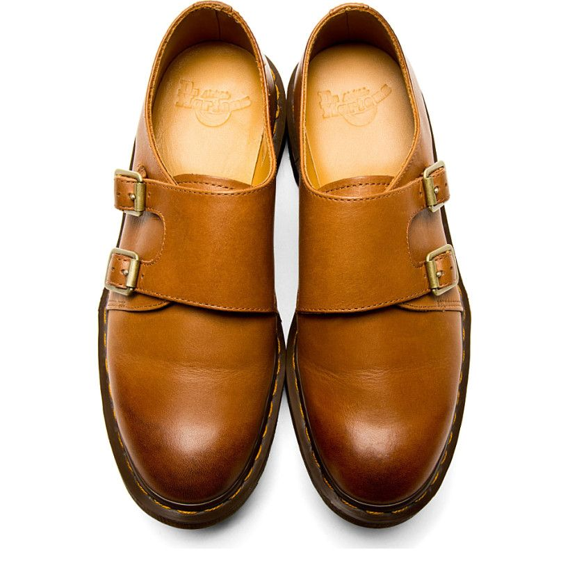 Dr Martens Brown Leather Monk Strap Jules Shoes