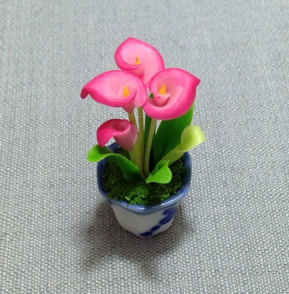 Red Calla Lily Handmade Clay Flower in Pot Dollhouse Miniature Garden Tiny