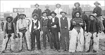 Bunch Of Genuine Old Time Cowboys And Bronco Busters At