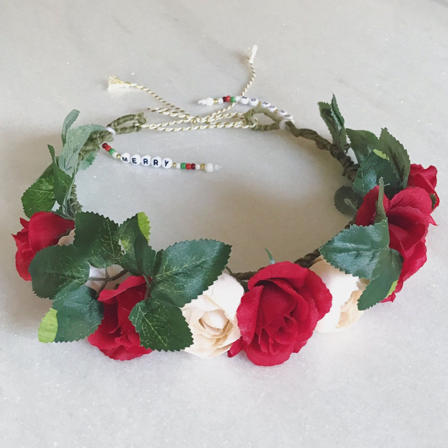 Holiday flower crown red white flower crowns pinterest flower holiday flower crown red white izmirmasajfo