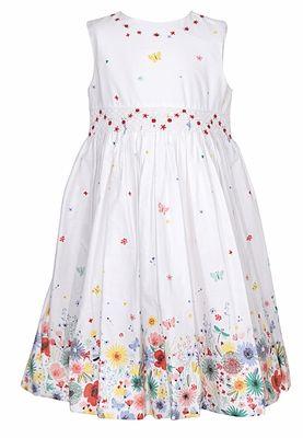 f35339da35d Sarah Louise Girls Sleeveless White Smocked Dress - Flowers   Butterfly  Border