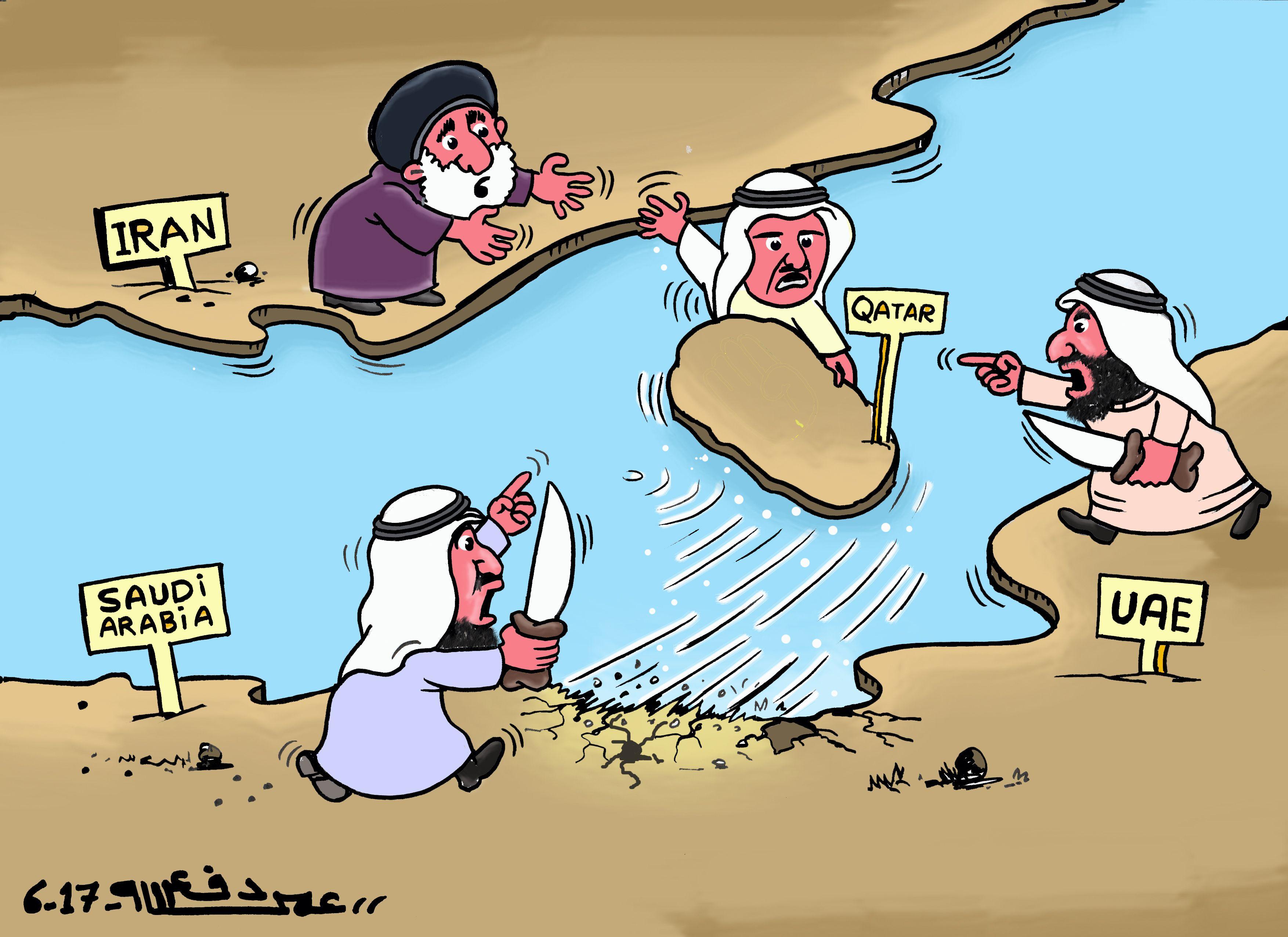 كاركاتير اليوم الموافق 15 يونيو 2017 للفنان عمر دفع الله عن  قطر