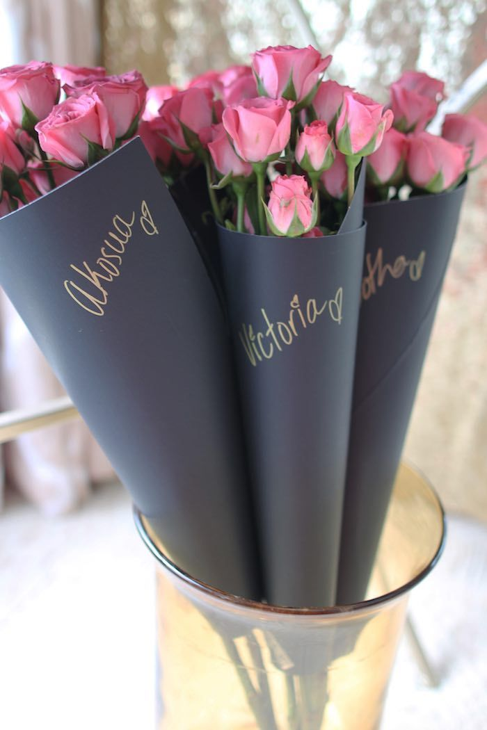 Personalized Mini Rose Bouquets from a Pink + Gold Galentines Valentines Party via Kara's Party Ideas | KarasPartyIdeas.com | The Place for