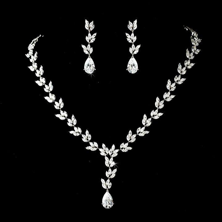 Cubic Zirconia Leaf Vine Design Bridal Jewelry Set Leaf design
