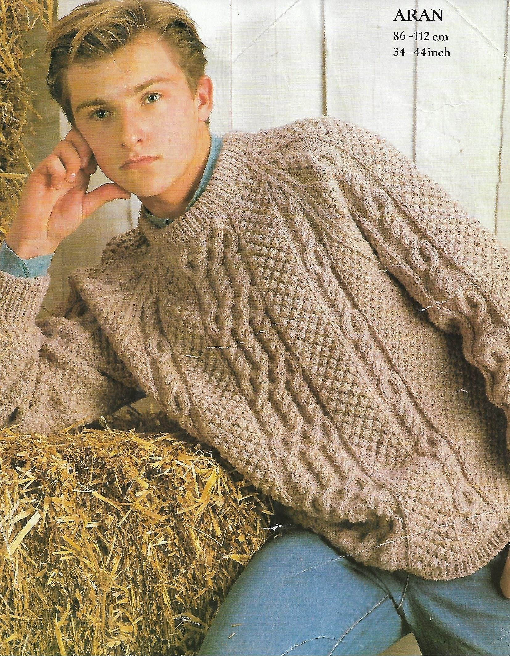 Mens aran sweater knitting pattern pdf mens cable jumper ...